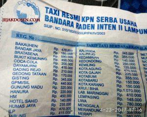 Tarif Taksi Bandara Raden Inten ke wilayah seluruh lampung