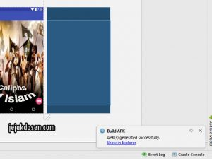 Tampilan menu Build Apk di android Studio