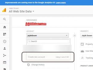 Cara menambahkan blog baru di account google analytics