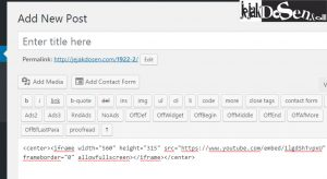 Cara memasukan video youtube di postingan wordpress
