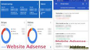 Statistik di Adsense mobile atau adsense web yang akurat