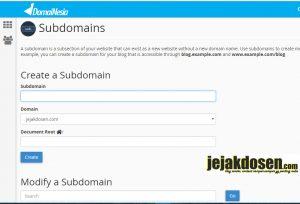 Cara membuat subdomain di cpanel hosting web anda