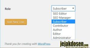 Cara membuat user baru dan penjelasan role user di wordpress