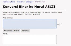 Cara konversi bilangan biner ke ASCII atau sebaliknya secara online