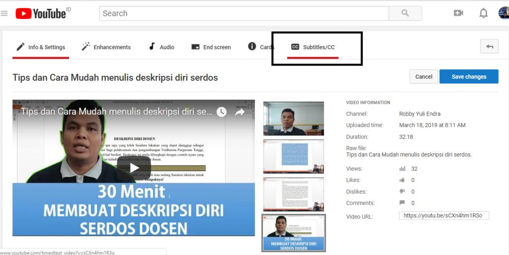 Cara membuat subtitle pada Video di Youtube Channel
