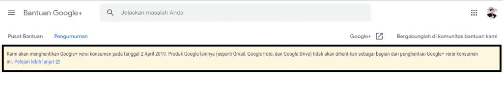 Layanan Google Plus anda akan di Nonaktifikan segera back up